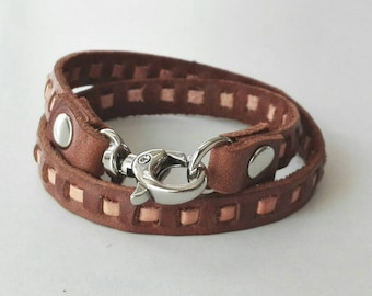 Brown Leather Bracelet Wrap Leather Bracelet with Metal Alloy Silver Tone Clasp in brown