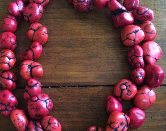 Large Chunky Red Coral Howlite Bead Long Necklace
