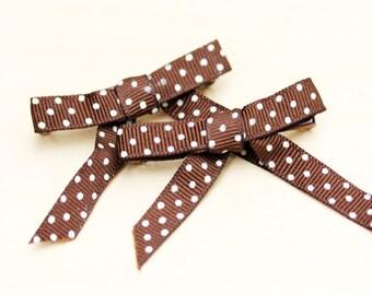 Ribbon Hair Clips - Brown Polka Dots