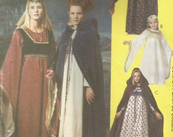 McCalls 8937 UNCUT Medieval Costume with Dress, Cape, Vest and Hat Sewing Pattern