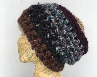 Neutral, Slouchy, Beanie, Crocheted, Hat, in Wine, Purple, Tan, Brown, Grey, Cream, and Black