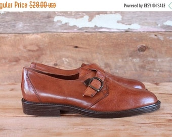SALE 1990s shoes / brown leather monk strap buckle loafers / made in Italy / size 7.5 men or 9 women / 40 eur