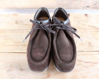 vintage Wallabee style loafers with steel toes | size 9 | brown leather lace up shoes