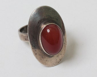 Sterling and Carnelian Modernist Ring Bezel Setting Size 6 1/4