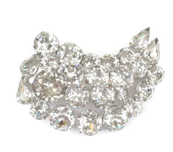 Kramer Clear Rhinestone Crystal Brooch Designer Diva Special Occasion Vintage