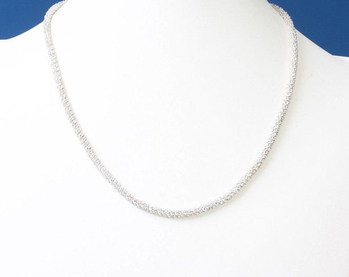 Sterling Silver Chain Necklace Diamond Cut Sparkling 18 Inch