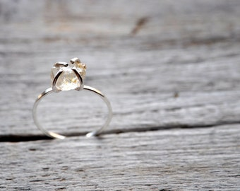 Raw Stone Sterling silver ring, Lake County diamonds, MADE TO ORDER