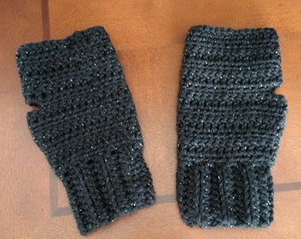Black Sparkle fingerless mitts arm warmers