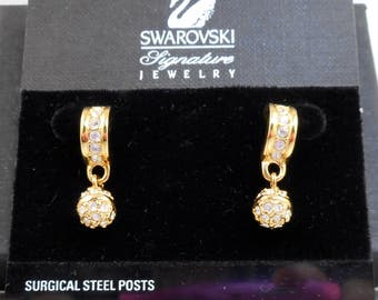 NOS Swarovski Rhinestone Ball Earrings