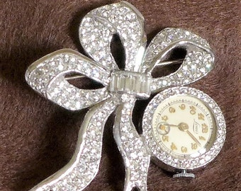 Rare Vintage Brooch Watch Loius Swiss Rhinestones Silver Wind Up