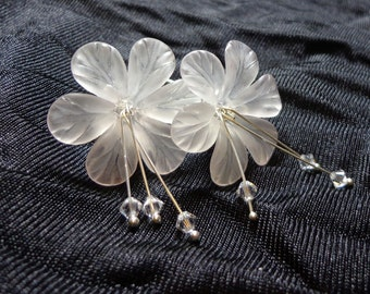 Floral White Earrings, Plumeria Lily Flowers, Antique Silver, Swarovski Austrian Crystal, Spiritcatdesigns, Jewelry Earrings