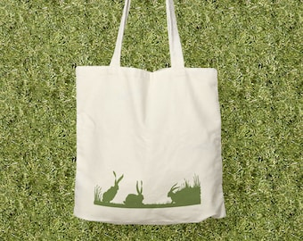 Bunnies Tote Bag Cotton Canvas Market Tote Grocery Shopping Bag, Easter Bag
