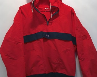 Red CB Jacket Primary Color Vintage Ski Shell Water Repellent Short Pullover Coat True Red & Blue XS Small Short
