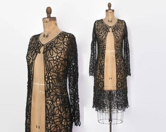 Vintage 90s Beaded Black Lace Duster / 1990s Long Sheer Silk Crochet Goth Cardigan Jacket