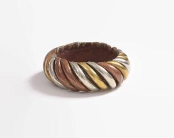 Vintage 70s Wide Metal Bangle / 1970s Boho Brass Copper Silver Mixed Metals Bracelet