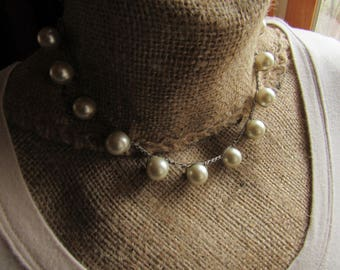 Chunky Cream Pearls Crochet Choker Necklace with Designer Button Closure, BOHO, Gypsy, Trendy, Stackable