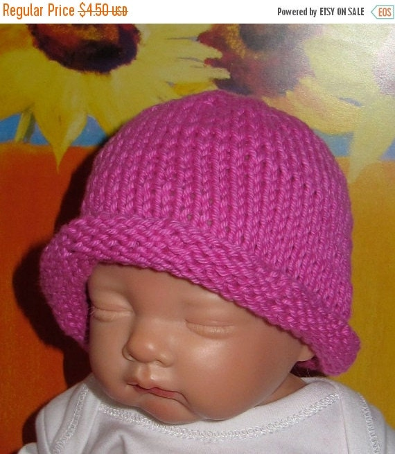 HALF PRICE SALE madmonkeyknits Baby Simple Roll Brim Beanie Hat pdf knitting pattern - Instant Digital File pdf download knitting pattern