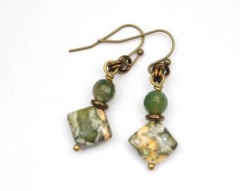 Green stone earrings, rhyolite and serpentine, French hooks, brass dangle