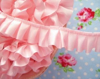 Box Pleated Satin Petal Pink Ribbon/Trim - 7/8 inch - 1 Yard