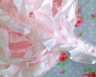 Baby Pink and White Satin Ruffled Lace Trim - 1 1/4 inch - 1 Yard