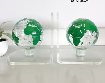 Vintage Mid Century Lucite World Globe Bookends, Green and Clear, Modern Home Decor