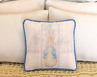 1:12 Pillow Peter Rabbit Collage - Dollhouse Miniature Shabby Cottage Easter Nursery *Free Shipping*