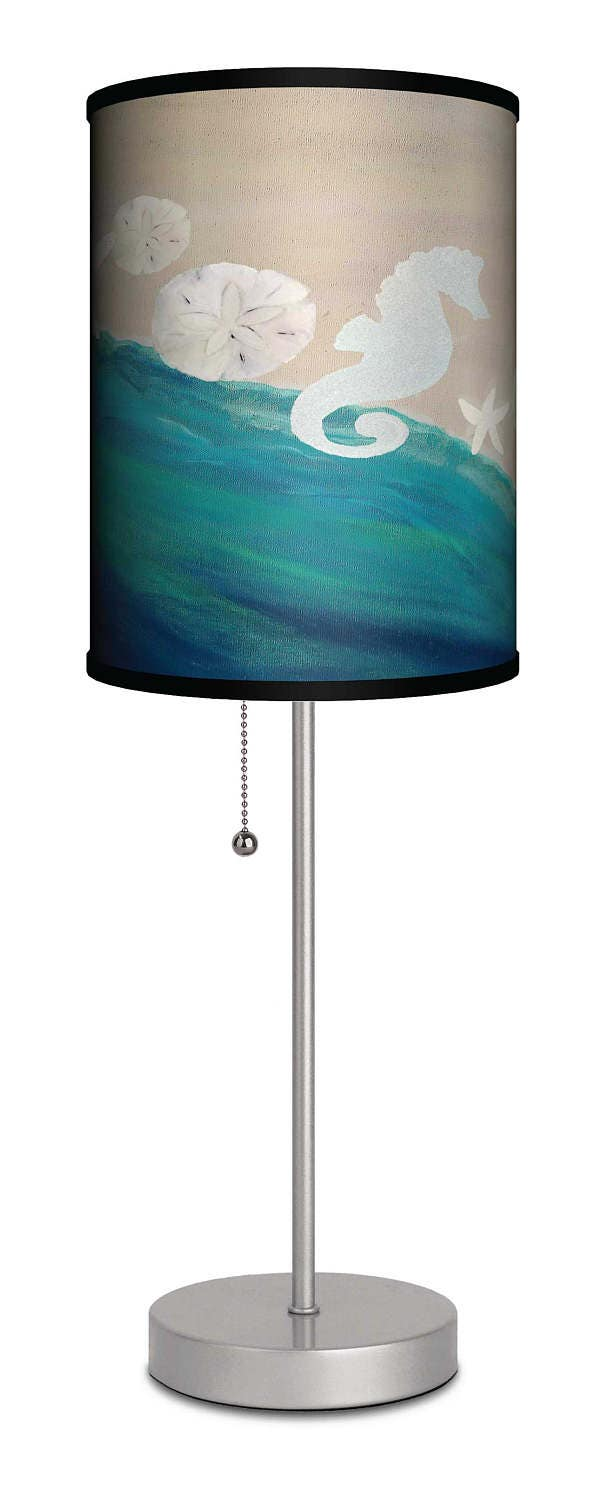sea shells seahorse coastal beach house table lamp from my art. Black Bedroom Furniture Sets. Home Design Ideas