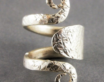 RING, STERLING FORK Ring, Handmade, Will Size from 5 to 6 1/2, Indicate Size, Hammered Texture Satin Polished .