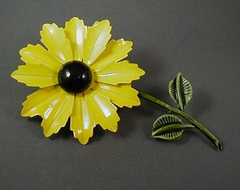 Yellow Metal Flower Brooch