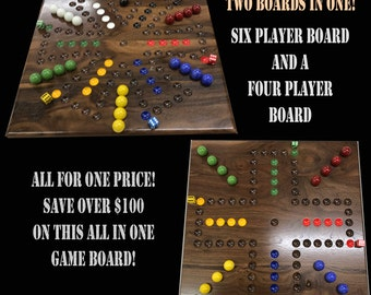 SIX and FOUR Player Walnut Aggravation Game Board