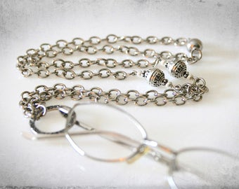 Chunky Silver Eyeglass Necklace. Baroque Style Eyeglass Loop & Grecian Beads