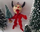 Vintage Style Holiday Folk Art Christmas Chenille Krampus Feather Tree Ornament