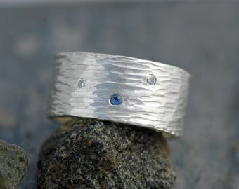 Hammered Sterling Silver Ring with Flush Set Yogo Gulch Sapphire and Diamond Melee- Ready to Ship Size 8.5