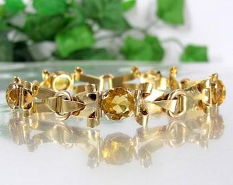 "Vintage 14k CITRINE TOPAZ  BRACELET Gold Fancy Link Arts & Crafts 7 3/4"" 21 Gr Possibly Austro-Hungary"
