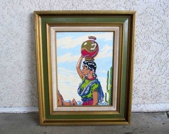 Vintage Latina Woman Paint By Numbers. Framed. Circa 1950's - 1960's.