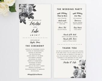 Wedding Program  // Vintage Inspired Wedding Program // Order of Ceremony // Rustic Wedding Program // Modern // Vintage Floral Program