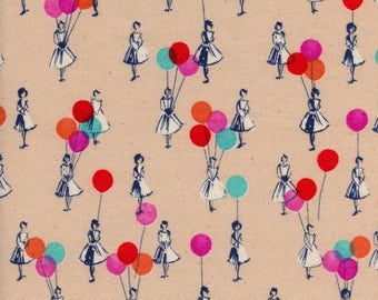 Cotton and Steel Fabric Jubilee Balloons in color Peach, Choose your cut