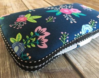 Travel Wipes Case with Diaper Strap | Mommy Clutch | Travel | Floral on Navy