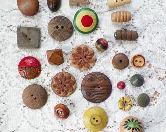 Destash Lot 26 Vintage / Antique Wood / Wooden Buttons, Painted, Carved, Novelty, Shaped for Embellishments, Scrapbooking,
