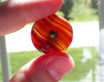 """One Vintage Striped Stone or Glass Button, Warm Carmel Red / Brown Opaque and Semi Opaque Stripes, Metal Shank, 7/8"""" or 22 mm"""
