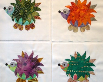 Batik Hedgehog Appliqued Quilt Blocks