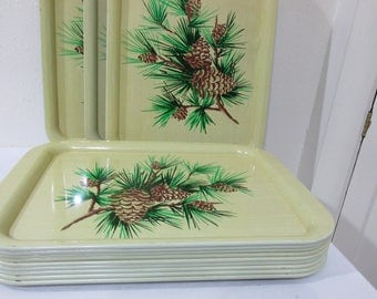 Serving Trays Set of 12 Pine Branches with Pine cones