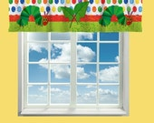 ON SALE Custom Window Valance or Curtain, Hungry Caterpillar Theme- Any Size or Any Patterns