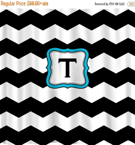 12 Days Christmas SALE Personalized Shower Curtain -THICK Black & White Chevron -Accent in any color