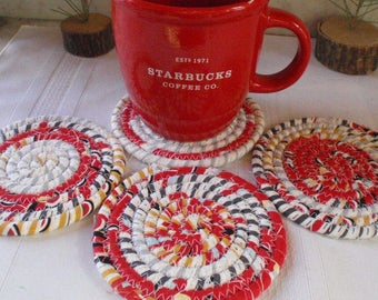 Coiled Fabric Coasters - Set of 4 for your Kitchen, Entertaining, Hostess Gift, Red, Black, Gray and White, Handmade by Me