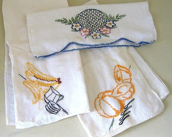 3 Vintage Decoratively Stitched Linens Tablecloth Handtowels