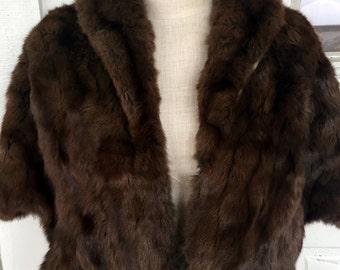 Vintage Dark Brown Mink Real Fur Cape Stole Wrap With Pockets