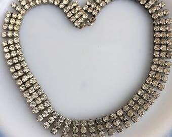 Vintage Art Deco 3 Row Rhinestone Collar Choker Necklace Glass Prong set