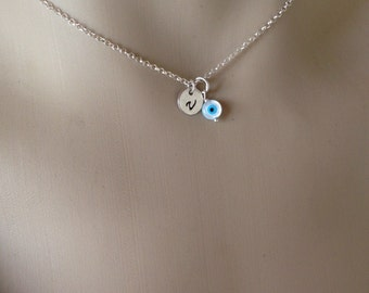 Personalized Evil eye necklace - hand stamped - 925 sterling silver  - Greek jewelry - fashion jewelry