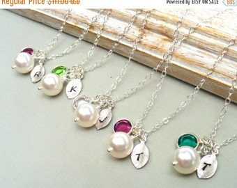 Christmas Sale Set Of 6 personalized birthstone necklaces, initial of choice, bridal party, bridesmaids, wedding party, flower girls, sister
